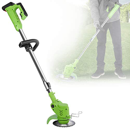 ZZJCY Household Lawn Mower Lithium-Ion Brushless Cordless String Trimmer, 10.0Ah Dual Batteries and Charger, Green and Silver, for Grass Trimming/Edging, Lawn and Garden Care