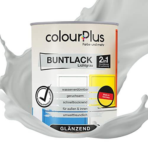 colourPlus® 2in1 Buntlack (750ml, RAL 7035 Lichtgrau) glänzender Acryllack - Lack für Kinderspielzeug - Farbe für Holz - Holzfarbe Innen - Made in Germany