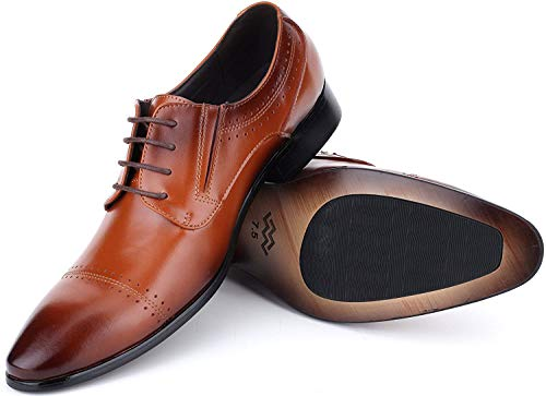 Mio Marino Mens Shoes, Oxford Dress Shoes, Genuine Leather in a Shoe Bag – Umber – Cap Toe – 9.5 D (M) US