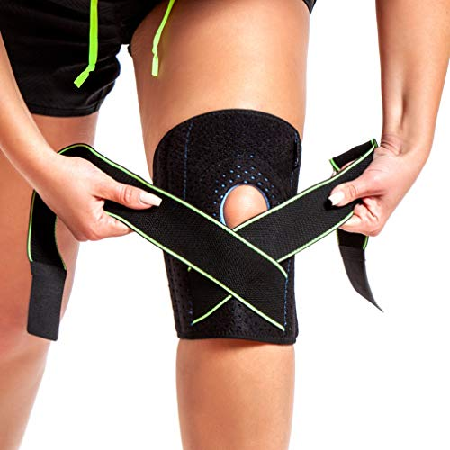 Knee Brace Support for Men and Women, Compression Sleeve Brace, Adjustable Open Patella Knee Brace with 4 Side Stabilizers for Arthritis, Meniscus Tear, ACL, MCL, Running, Sports, Athletic