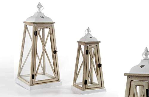 GICOS IMPORT EXPORT SRL Set 2 Lanterne Bianche Porta Candele schabby Chic stuttura in Legno Vetro e Metallo 30 * 30 * 70-21 * 21 * 50cm Decoro Cuore HIA-789786