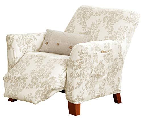 Great Bay Home Velvet Plush Stretch Recliner Slipcover. Velvet Recliner Furniture Protector, Soft Anti-Slip, High Stretch (Recliner, Silver Cloud - Toile)