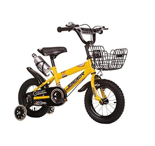 Kinderfahrräder Biciclette per Bambini, Bambini 4-6-8-11 Anni Ragazzi e Ragazze 14.12.16.18 Pollici Mountainbike (Farbe: Giallo, Abmessung: 12 Pollici)