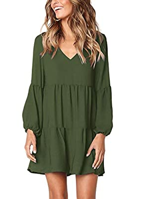 Arolina Women's Long Sleeve Tunic Dress V Neck Casual Loose Fall Flowy Swing Shift Dresses