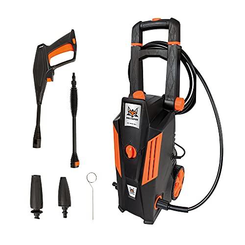 Limpiador de alta presión DELTAFOX - Presión máxima de 135 bar - 1800 W - Caudal máximo de 420 l/h - Manguera de 5 m - Cable de 5 m - Depósito para productos de limpieza de 0,8 L - Bomba de aluminio