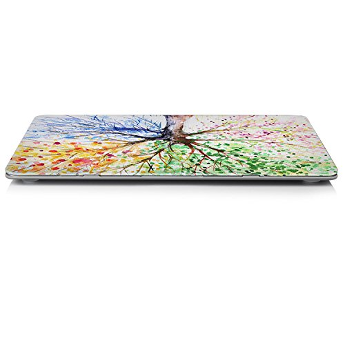 iCasso New Art Fashion Image Series Ultra Slim Light Weight Rubberized Hard Case Glossy Clear Crystal Snap-On Hard Cover Case for MacBook Air 13 (Model: A1369 and A1466) - Four Seasons Tree by iCasso