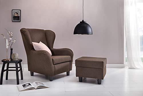 Furniture for Friends Möbelfreude® Ohrensessel Braun Wohnzimmersessel mit Hocker