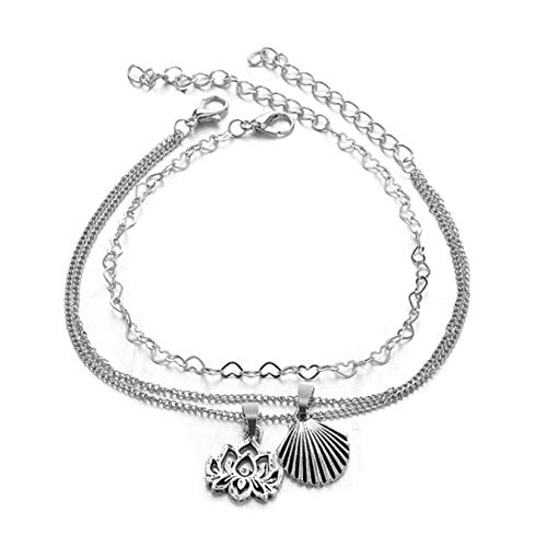 ICUTEDIY Layered Hollow Lotus Seashell Love Heart Anklet Ankle Chain Accessories Barefoot Sandal Beach Foot Accessories