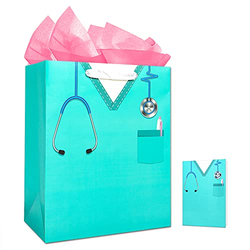 WHATSIGN Nurse Graduation Gifts Bag,Nurse Doctor Graduation Gift Bag,13' Large Gift Bag with Tissue Paper and Card for Nurse Doctor Medical School Graduate,Occupational Therapist,Nurses Party Supplies