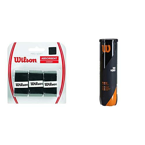 Wilson Unisex Griffband Pro Soft Overgrip, schwarz, 3 Stück, WRZ4040BK & Tennisbälle Tour Practice, gelb, 4er Dose, WRT114500