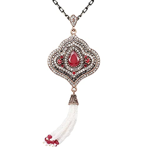 TUDUDU Collares De Borlas para Mujer, Collar Vintage De Cristal Rojo Geométrico con Cuentas De Oro Antiguo Hecho A Mano, Regalo De Fiesta De Festival