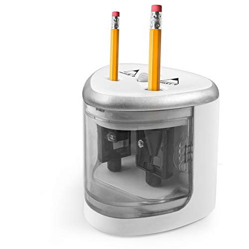KEKILO鉛筆削り電動えんぴつけずり器鉛筆シャープナーペンシル削り機電動自動乾電池可愛い子供学生用ミニ安全オフィス学校家庭に適応(シルバーA)