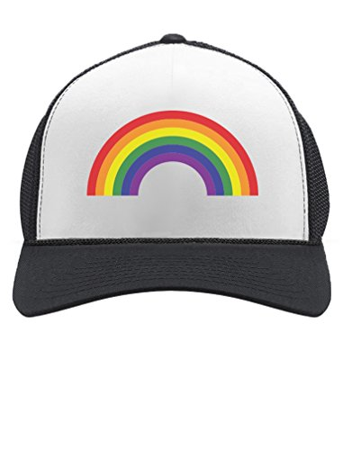 Pride Parade Trucker Hat Gay & Lesbian Pride Rainbow Flag Trucker Hat Mesh Cap One Size Black/White
