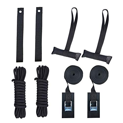 Heavy Duty Hood Loop Straps and Hood Trunk Straps with Lashing Tie down straps and PP Ropes Ultimate solution kit for Trailing the Kayak/Canoe/SUP/Surfboard/Ski board/Snow board 8 pcs/Set Black