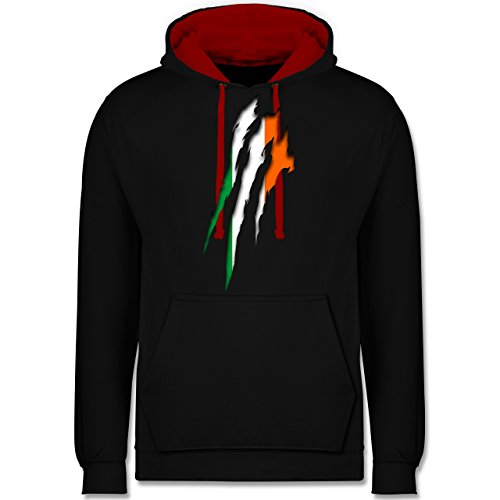 Shirtracer Länder - Irland Krallenspuren - 5XL - Schwarz/Rot - Irland Pullover - JH003 - Hoodie zweifarbig und Kapuzenpullover für Herren und Damen