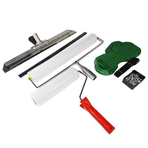MXBAOHENG Kit de Herramientas de Construcción Herramienta Suelo Rodillodepúas Escobilladegomacemento con hoja Sandalias de aireador de césped