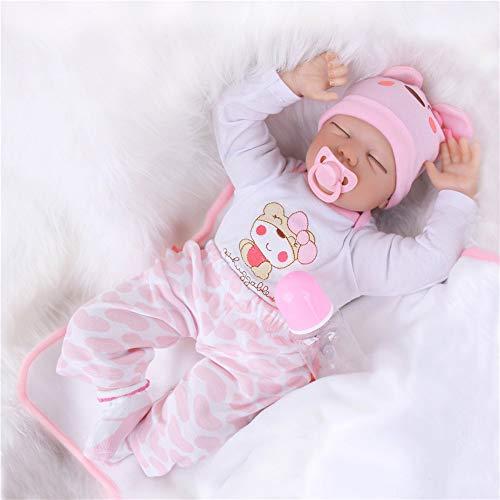 ZIYIUI Echt Schlafend Reborn Baby Doll Puppen Silikon Vinyl Niedlich WiederGeboren Babypuppen Rosa Outfit Toddler Babies Mädchen Magnetischer Mund 22 Zoll 55 cm
