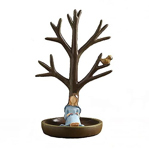 SXYB Soporte del Titular de la joyería con el Rack Almacenamiento los Pendientes con Forma árbol, con bandejas Ganchos y almacenes, para Pantallas y Pantallas Collares, chokers, Pulseras, Anillos