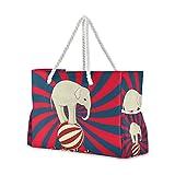 LUNLUMO Elefante lindo que juega la bola con la bolsa de asas azul y roja del hombro de la tira bolsa de