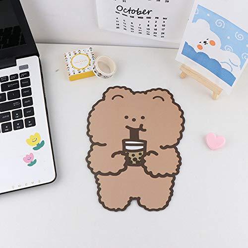 XIAOYAOJING 1/4 PCS Cartoon Cute Kawaii Bear Mouse Pad, PVC Non Slip Cup Stationary Mad for Desk, Cup etc(3)