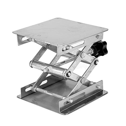 Hubtische Edelstahl Labor Hebeplattform Ständer Rack Scissor Jack Heber 100 * 100 * 160mm(Schwarzer Griff)