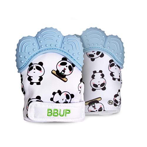 JOYKK 2Pieces   Pack Mitaines de Dentition Panda Mignonnes pour bébé Nouveau-né Gants de Dentition bébé Jouet - 2# Bleu