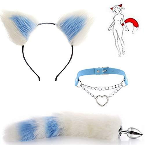 Diademas de cola de zorro y orejas de gato blancas de varios tamaos, gargantilla de cuello de corazn ajustable para disfraz de cosplay