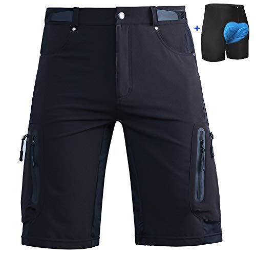 Cycorld Men's-Mountain-Cycling-Biking-Padded-MTB-Shorts (Black and Underwear, XL(Waist:32.5'-34.5', Hip:39'-41'))