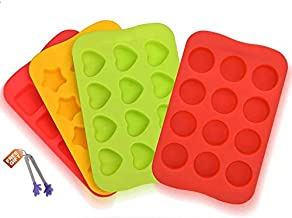Premium Silicone Candy Molds & Ice Cube Trays by Naranqa| Nonstick FDA Approved Silicone BPA FREE | Chocolate, Candy, Gummy, Jelly, Ice Cube and More with Free Gift | Hearts, Stars, Square,Round Shape
