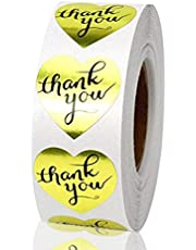 "Louise Maelys 1"" Golden Heart Shape Thank You Stickers Envelope Gift Box Bag Sealing Labels 500pcs per Roll"