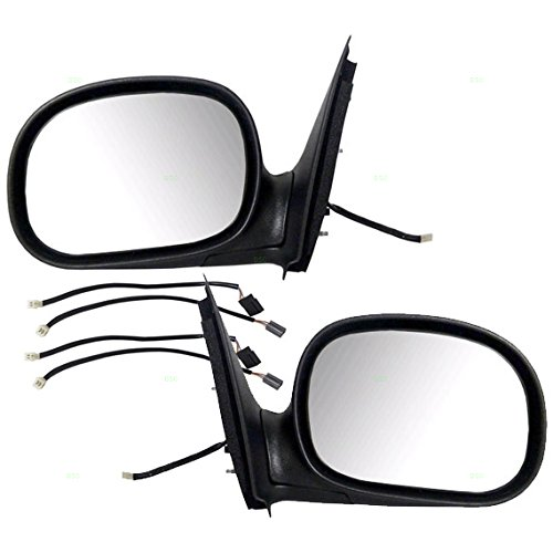 Pair Set Power Side View Contour Mirrors W Adapters Replacement For Ford F
