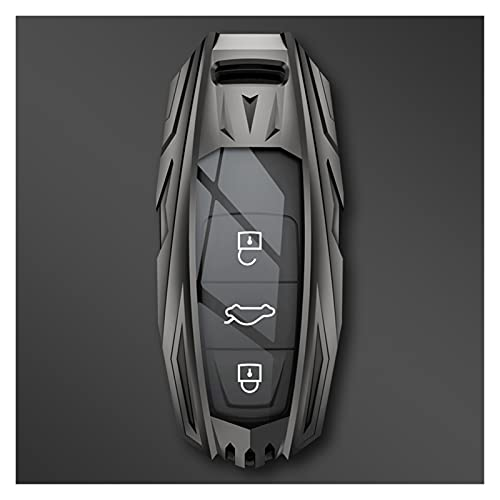 FEICHUAN Zinc Alloy Car Key Case Cover Fit for Audi A3 A4 B9 A6 C8 A7 S7 4K A8 D5 S8 Q7 Q8 SQ8 E-tron 2018 2019 2020 2021 Accessories (Color Name : Grey Shell)