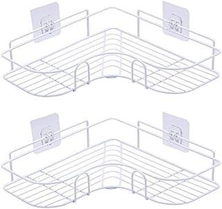 2PCS Corner Shower Caddy, Shower Organizer Storage with Rustproof Stainless Steel Adhesive Sticker, Shower Shelf for Kitch...