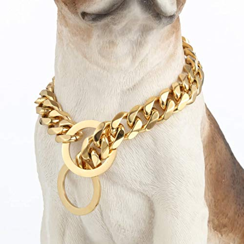 W/W Lifetime Custom Ultra Strong 19MM 14K Gold Plated Slip Chain Dog Collar - for Pit Bull Mastiff Bulldog Small Dogs. (19MM, 18')