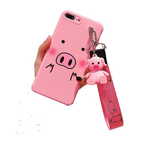 Funda para iPhone XS MAX, para iPhone XS MAX, Funda para iPhone XS MAX, Cute Pig con Soporte de muñeca de Cerdo, con Borla, cordón Suave para iPhone XS MAX XR 6S 7 8 Plus