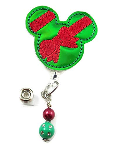Christmas Mouse Mickey - Nurse Badge Reel - Retractable ID Badge Holder - Nurse Badge - Badge Clip - Badge Reels - Pediatric - RN - Name Badge Holder