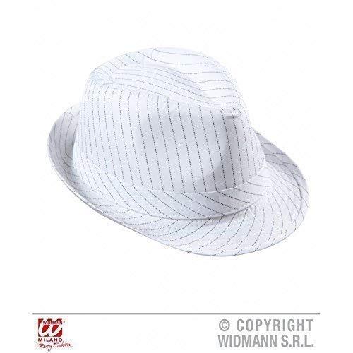 Lively Moments Weißer Ska-/Trilby- Hut mit schwarzen Nadelstreifen im Zeichen des modernen Alcapone