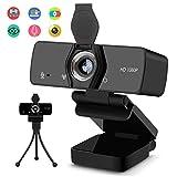 Burxoe Webcam with Microphone, 1080P HD Streaming Web Camera...