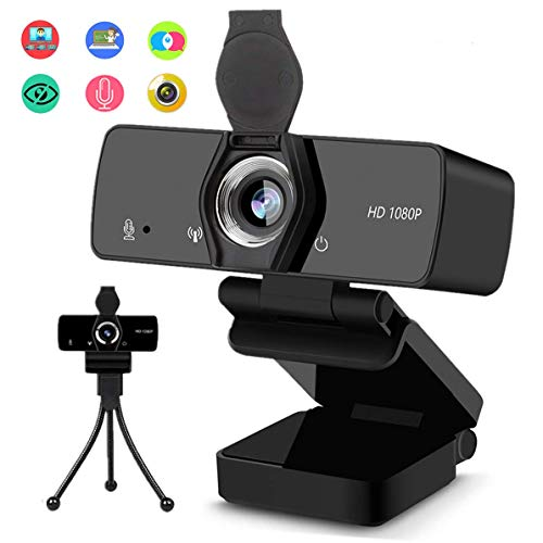 1080P HD Webcam, Web Camera with Microphone for Desktop, USB PC Streaming Camera 110-Degree Wide Angle with Mic Privacy Cover Tripod for Computer, Laptop,Study, Video Calling, Conference, Gaming