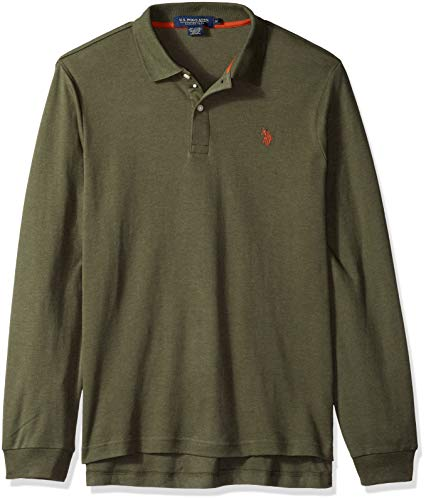 U.S. Polo Assn. Men's Long Sleeve Interlock Polo Shirt, Army Heather, L