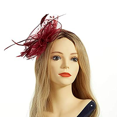 Fascinator Hat,Aiskki Fascinator Headband Feather Mesh Net Hat With Hairband,Tea Party Headwear,Flower Derby Hat with Clip,Kentucky Derby Hats for Women