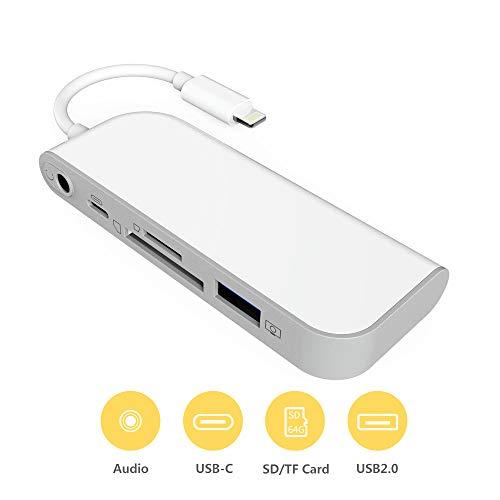 SwiftLand SD TF Kartenleser, USB auf Kamera Telefon Adapter 5 in 1 Kartenleser Adapter mit 1 USB 3.0 OTG Schnittstelle SD/TF Kartenleser 1 PD Port 3,5 mm Klinkenstecker