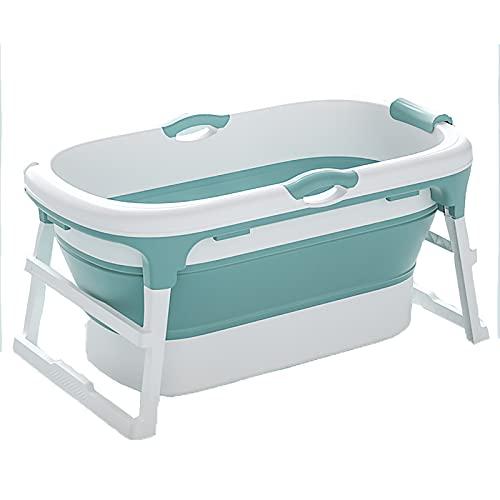 HE-XSHDTT Folding Bathtub Adult Household Bath Bucket Bath Tub Baby Swimming Pool Can Sit Or Lie Down Surround Lock Temperature,Blue