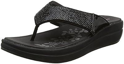 Skechers Women's Upgrades-Stone Cold-Rhinestone Thong Flip-Flop, Black/Black, 6 M US