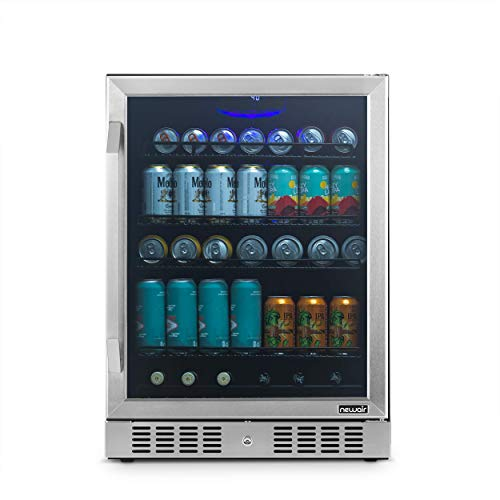 """NewAir 24"""" Beverage Refrigerator Cooler - 177 Can Capacity - Stainless Steal With Built In Cooler and Glass Door 