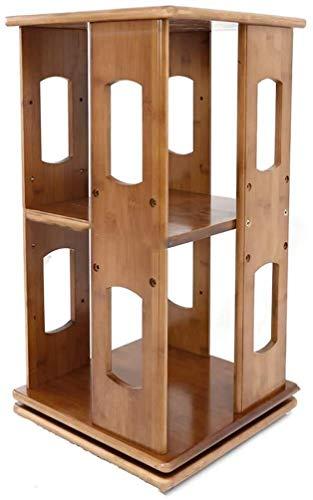 AOIWE Almacenamiento Rack Rotating Bookshelf Simple Desktop Exhibir Soporte Solid Madera Multi-Capa Libros Sundries Lockers