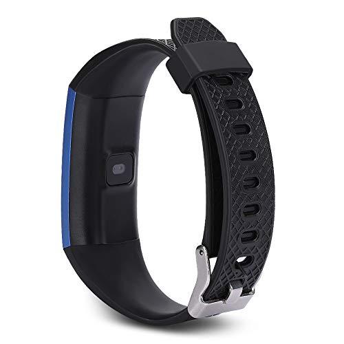 Qinlorgo pulsera inteligente, pulsera deportiva, IP68 grado cardíaco monitor del sueño para mujeres y hombres, niños parejas (azul)