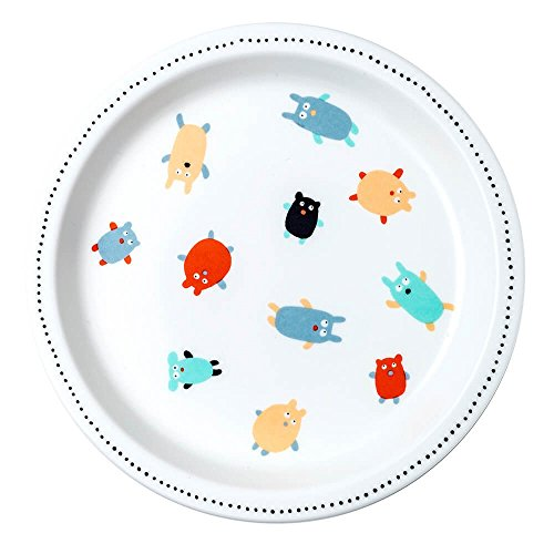 Petit Jour Paris Doudous Assiette en mélamine 18 cm – Assiette pour enfant en plastique mélaminé – Multicolore – Sans BPA