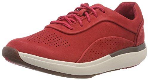 Clarks Un Cruise Lace, Zapatos de Cordones Derby para Mujer, Rojo (Red Nubuck), 40 EU