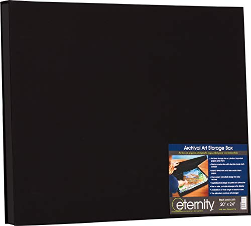 """HG Concepts Art Photo Storage Box Eternity Archival Clamshell Box for Storing Artwork, Photos & Documents Deluxe Acid-Free Sturdy & Lined with Archival Paper - [Black - 20"""" x 24""""]"""
